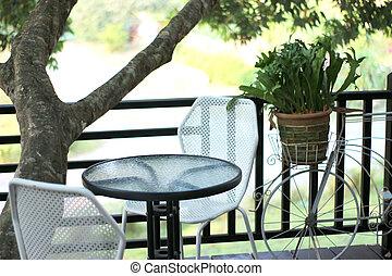 sedie, caffè, tavola esterna, ristorante