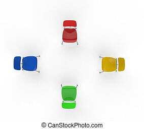 sedie, cima, colorito, vista