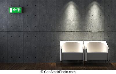 sedie, concreto, disegno interno, parete