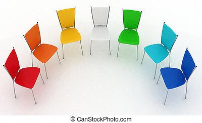sedie, costi, gruppo, half-round