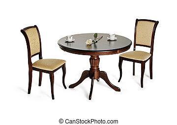 sedie, due, isolato, tavola, bianco, rotondo