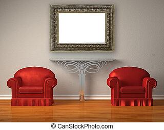 sedie, due, minimalista, metallico, rosso, interno, mensola