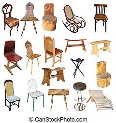 sedie, isolato, collezione