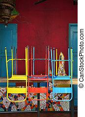 sedie, legno, colorito, tavola