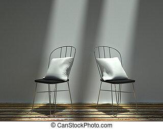 sedie, loro, bianco, metallo, cuscini