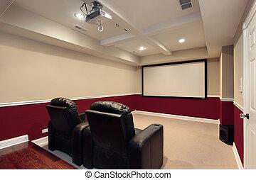 sedie, media, teatro, stanza, casa