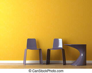 sedie, moderno, disegno interno, arancia, tavola, parete