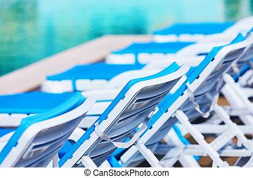 sedie, nuoto, spiaggia, stagno, fila