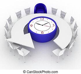 sedie, orologio ufficio