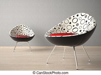 sedie, parete, due, grigio