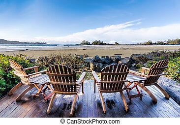 sedie, quattro, spiaggia, trascurare, ponte