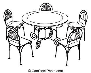 sedie, set, tavola