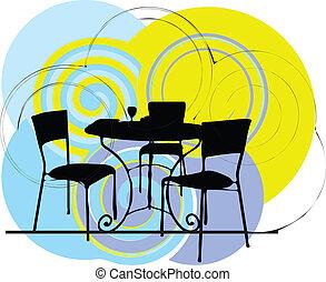 sedie, tavola, illustrazione, &