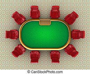 sedie, tavola, poker, vista superiore
