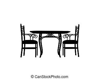 sedie, tavola, silhouette, contorno