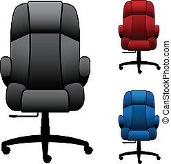 sedie, vettore, ufficio