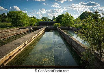Sedimentation Tanks at Abandoned Sewage Treatment Plant -...
