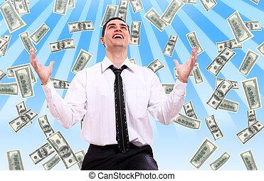sedlar, affärsman, lycklig, dollar, flygning