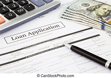 sedlar, ansökan, lån, dollar, bilda