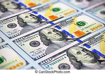 sedlar, färsk, 100, dollar, oss