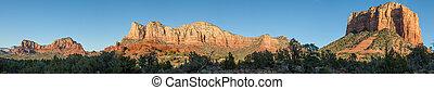 a scenic panoramic landscape of the red rocks of sedona arizona