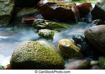 sedoso, água, fluxo, 2