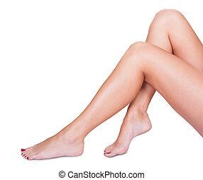sedoso, mujer, ella, acariciante, liso, piernas
