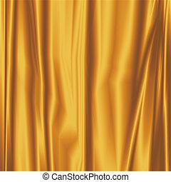 sedoso, tecido, ouro