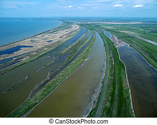 Sedovo spit. Sea of Azov. Aerial view.