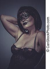 seducente, brunetta, biancheria intima, sensuale, nero, maschera, donna