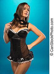 seducente, nero portare, maschera, donna, sexy