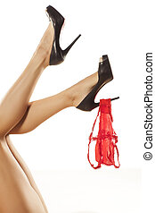 seduction - pretty female legs with high heels and panties...