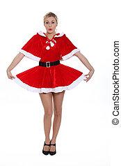 Seductive blond in Santa costume