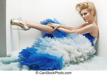 Seductive blond woman with tempting, slim body - Seductive...