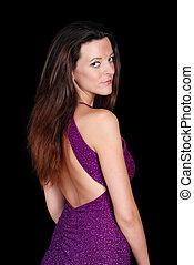 seductive brunette wearing a purple