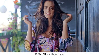 Seductive Brunette with Hands in Long Hair - Slow motion...