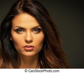 Seductive brunette woman with long hair - Seductive fatal ...