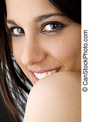 seductive girl portrait - portrait of a smiling seductive...