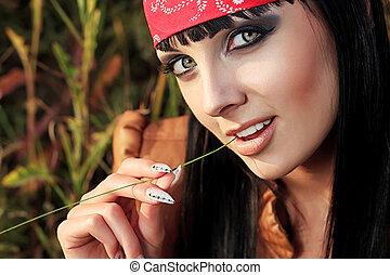 seductive girl - Shot of a sexy woman posing outdoor.