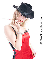 seductive girl - portrait of the seductive girl isolated on...