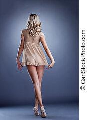 Seductive slim model posing back to camera - Seductive slim...