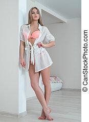 Seductive underwear model posing at home - Image of ...