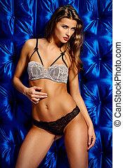 seductive underwear - Sensual young woman in beautiful...