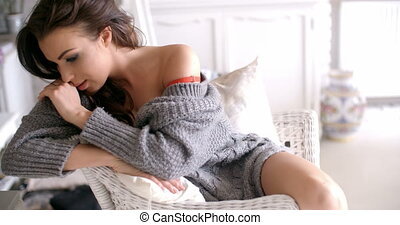 Seductive Woman in Cardigan Touching her Hair - Close up...