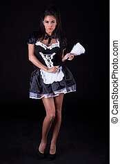 Seductive woman in maids outfit - Beautiful seductive woman...