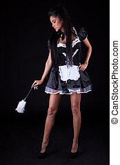 Seductive woman in maids outfit - Beautiful seductive woman ...
