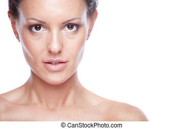 Seductive woman - Face of pretty woman looking at camera in...