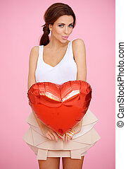 Seductive woman with a red heart - Seductive beautiful woman...