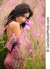 Seductive Young Woman In Pink