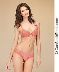 seductor, mujer, en, ropa interior atractiva